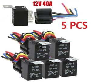 5pc 12v 30 40 Amp 5 pin Car Spdt Automotive Relay With Wires harness Socket Set