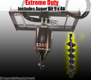 Skid Steer Auger 3000psi Extreme Duty Gear Drive Mcmillen X2475 W 9 Rock Rip