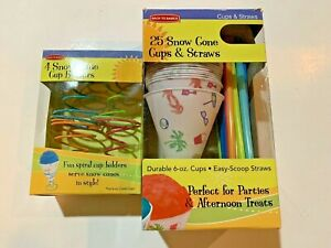Back To Basics Snow Cone Cups Cup 4 Holders new And 22 Cups And Straws