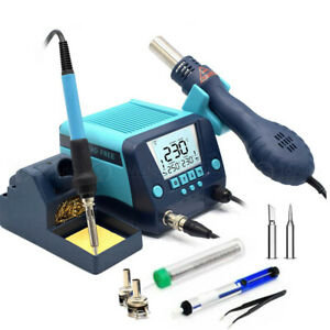 2 In 1 Smd Rework Soldering Iron Station 90w Hot Air Gun Large Screen Auto Sleep