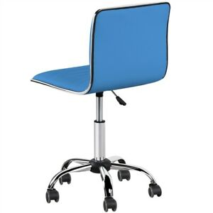 Low Back Armless Office Chairs Computer Chairs Pu Learher Task Chairs Blue