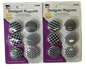 12 Charles Leonard Button Style Magnets Assorted Designs Black white