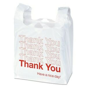 T shirt Thank You Plastic Grocery Shopping Carry Out Retail Bags 50 Bags pack