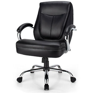 Costway 500 Lbs High Back Big Tall Office Chair Adjustable Leather Task Chair