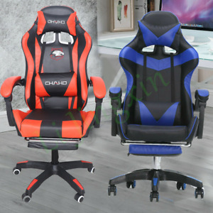 Ergonomic Computer Gaming Office Chair With Lumbar Massage Footrest Racing Style