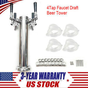 Stainless Steel Draft Beer Tower Faucet Four headed 4 Tap Faucet Set Homebrew