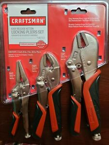 Craftsman 3 Pc Vise Grip Locking Pliers Set One hand Operation With Wire Cutter