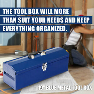 19 Hip Roof Style Portable Steel Tool Box With Metal Latch Closure