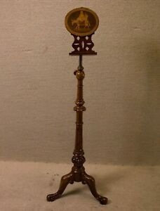 Adjustable Victorian English Music Stand With Inlaid Figures