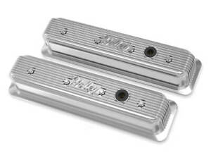 Holley Finned Valve Cover Polished Emissions Hole For Small Block Chevy Engines