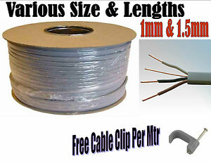 3 Core Earth Cable Grey 1mm 1 5mm Electrics 2 Way Lighting 1mtr 50mtrs