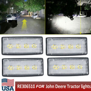 4x Led Headlight For John Deere Tractor Lights Replace Re306510 Re37450 White