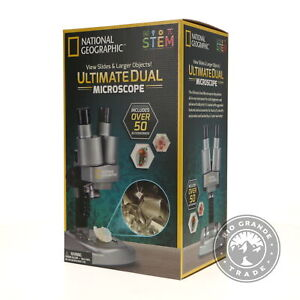 Open Box National Geographic Kids Microscope Science Kit In Silver Ages 8 12