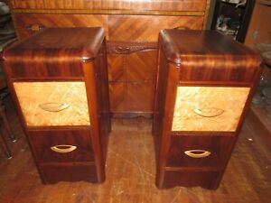 Art Deco Waterfall Pair Of Nightstands Or End Tables