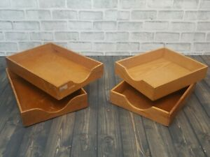 Lot 4 Vintage Wood Desk Organizer Mix Tray Dovetail Wood Office In Out Box