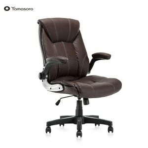 High back Office Chair Executive Ergonomic Leather Support Pc Gaming Flip up Arm