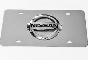Nissan Mirror Chrome Stainless Steel Metal Front License Plate With Caps