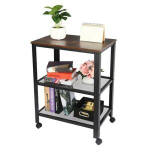 Metal Serving Cart Kitchen Storage Mobile Cart 3 Tiers With Wheels Rustic Brown
