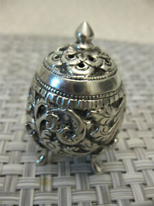 Indian Silver Pepper Pot Shaker 40 Grams With Lovely Pattern Circa 1900