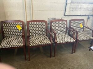 Lot Of 4 Guest Lobby Side Chairs By Haworth Office Furniture W Wood Frame