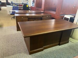 6 Executive Set Desk Credenza By Jofco Office Furniture In Cherry Finish Wood