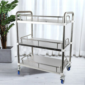 Lab 3 Layer Serving Cart Clinic Trolley W Silent Lockable Wheel Stainless Steel