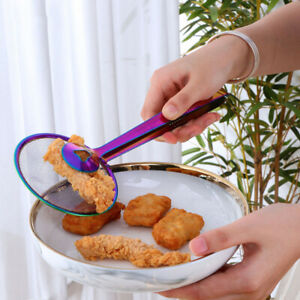 Fryer Clamp Strainer Filter Spoon With Clip Food Kitchen Oil frying Bbq Fil X