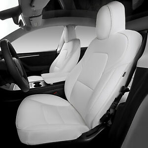 Seat Covers Fit Tesla Model Y Pu Leather Car Seat Cushion Protector White 12 Pcs