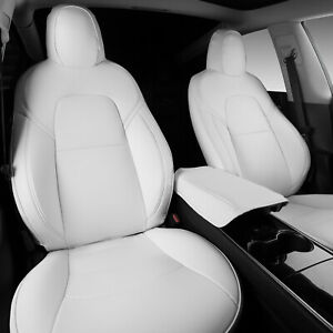 Front Seat Covers Fit Tesla Model 3 Y Cushion Protector Pu Leather White 5 Pcs