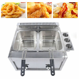 12l Stainless Steel Commercial Gas Fryer Countertop Fryer Cooker Multifunctional