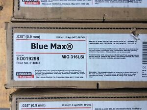 6 Lincoln Blue Max Mig Welding Stainless 316lsi 035 Wire 25 Ed019298