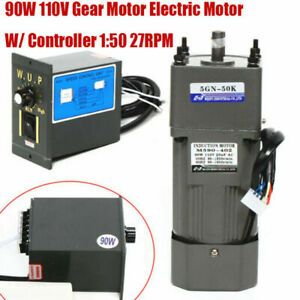 110v Reversible Ac Gear Motor Electric W variable Speed Controller 50k 27rpm New