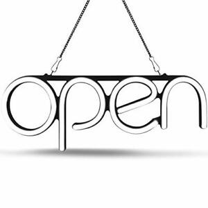 Led Neon Open Sign Light Perfect To Advertise Storefront Bright White