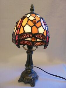 Vintage Tiffany Style Art Nouveau Leaded Stained Glass Dragonfly Table Lamp
