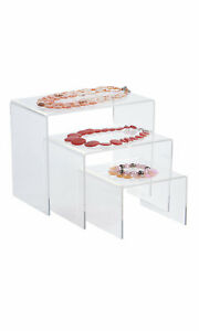 Rectangular Nesting Clear Acrylic Display 6 8 10 Wide Set Of 3