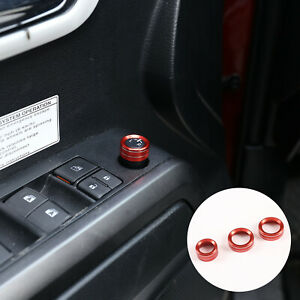 Alloy Red Rearview Mirror Adjust Volume Knobs Ring Cover For Toyota Tacoma 16 19