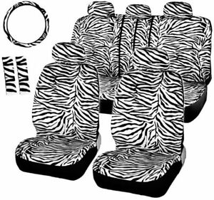 Full Set Of Car Seat Cover Leopard Print Car Protective Cover Auto Parts White
