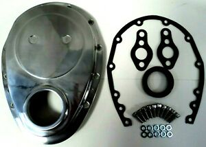 Sb Chevy Polished Aluminum Timing Chain Cover Kit 350 Sbc Gasket Seal Bolts Set