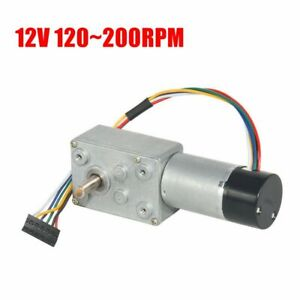 12v 120 200rpm Dc Worm Gear Reducer Motor With Dual Channel Hall Effect Encoder