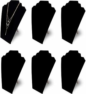 Pack Of 6 Necklace Jewelry Display Stand Black Velvet Pendant Holder Rack Home