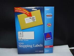 Shipping 250 Labels Avery 5263 White Full sheet For Laser 25 Sheets