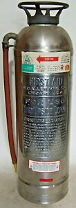 Vintage Large Stainless Steel Allen First Aid Soda acid Fire Extinguisher Empty