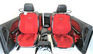 2015 Dodge Challenger Front Rear Seats Leather Suede Console Door Panels Red Blk