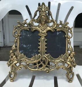 Vintage Gold Brass Cherub Antique Picture Double Frame 12 Tall 10 Wide