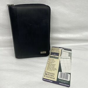 Franklin Covey Day One Black Faux Leather Compact Zip Close 6 Ring Planner Plus
