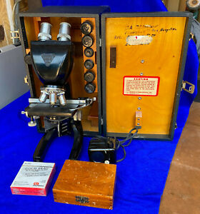 Vintage Bausch Lomb Microscope Twin Viewer With Accesories And Case