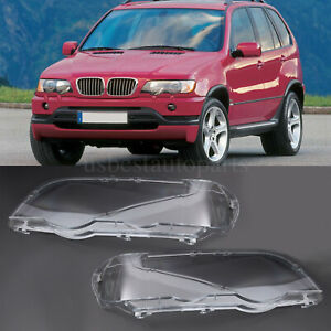 Pair Front Headlight Lamp Lens Cover L R Clear For Bmw X5 E53 00 03