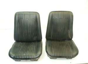 Jeep Commando 66 73 Low Back Front Seat Pair Black Oem Factory Free Shipping