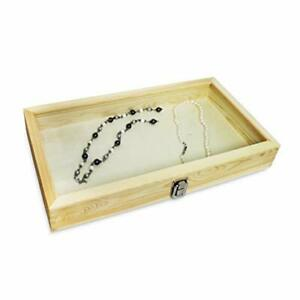 Wood Glass Top Jewelry Display Case Accessories Storage Wooden Natural