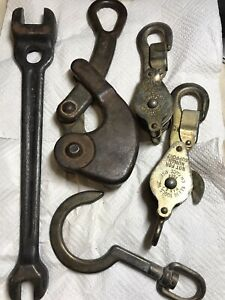 Vintage Klein Sons 2 Blocks 750 Anchor Hook 259 Wire Puller Wrench 3146